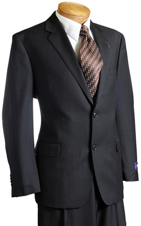 Mens Black Pinstripe Wool Italian Design Suit