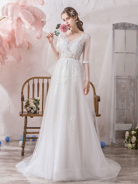 Milanoo Simple Wedding Dress A Line V Neck Long Sleeves Lace Applique Tulle Bridal Gowns