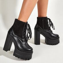 Lace-up Front Chunky Heeled Ankle Boots