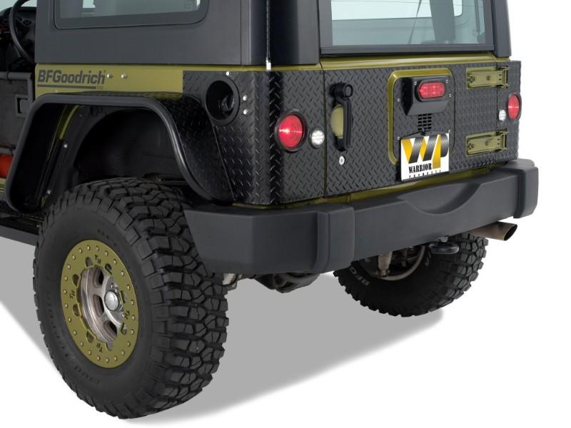 Warrior Products 924APC Rear Corner w/Cutouts For LED lights Aluminum Black Diamond Plate Jeep JK Wrangler 2 Door 07-17