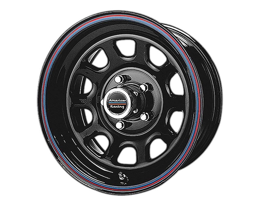 American Racing AR767 Wheel 15x7 5x5x127 +0mm Gloss Black Steel w/Red and Blue Stripe