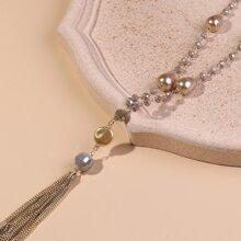 Tassel Charm Beaded Necklace