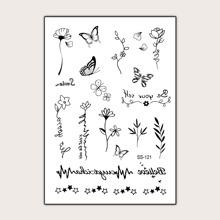 Flower & Butterfly Pattern Tattoo Sticker