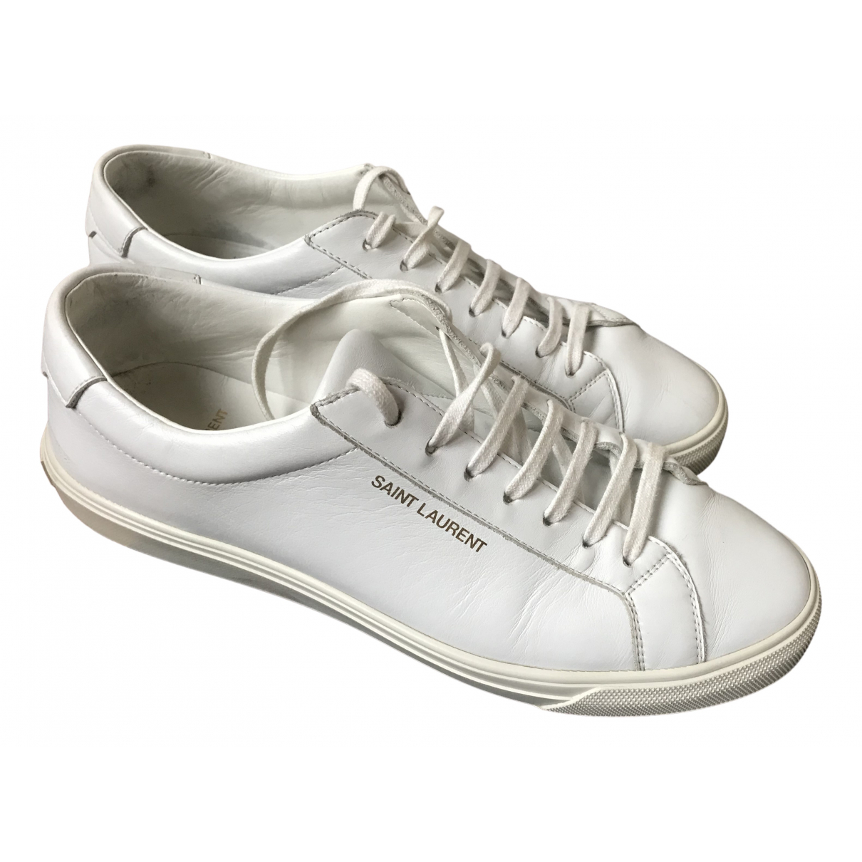Saint Laurent - Baskets Court pour femme en cuir - blanc