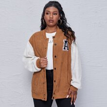 Plus Letter Patched Spliced Sherpa Corduroy Bomber Jacket