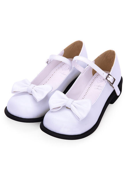 Milanoo Sweet Lolita Footwear Bow Round Toe White Lolita Mary Jane Shoes
