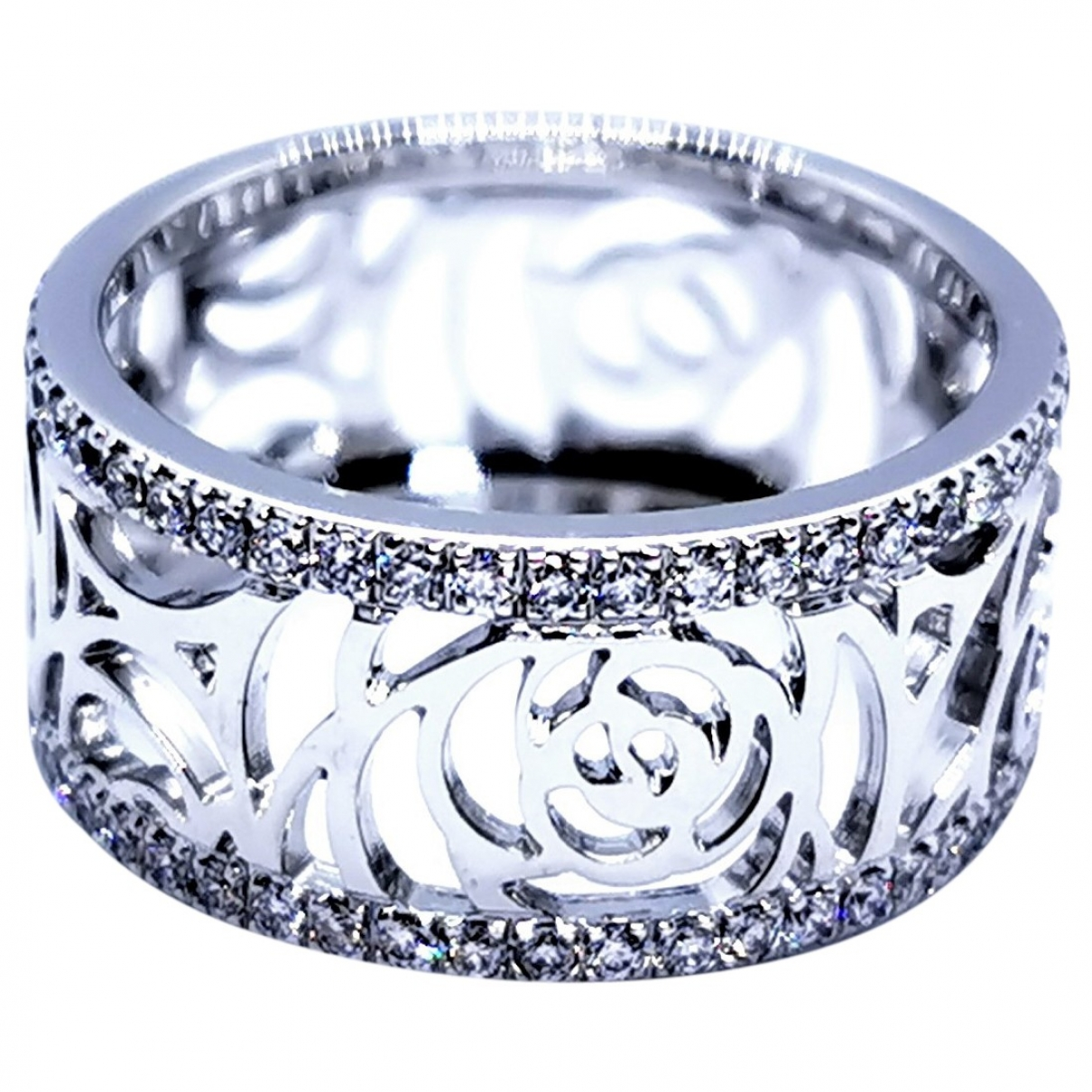 Chanel Camélia Silver White gold ring for Women \N