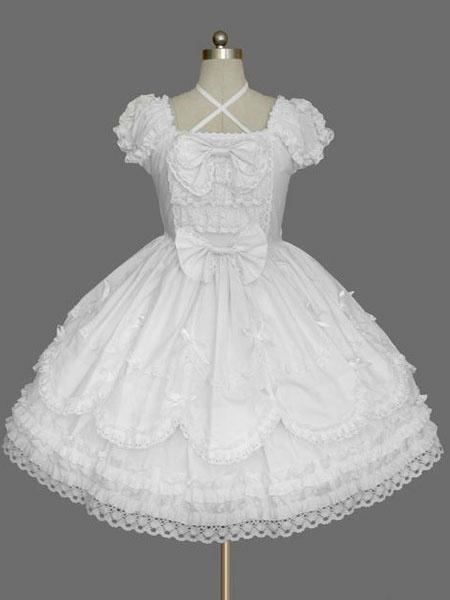 Milanoo Rococo Lolita Dress JSK Lace Ruffles Bow Decor Pleated Cotton Lolita Jumper Skirt