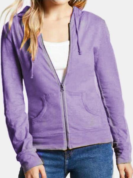 Yoins Active Round Neck Zip Design Sports Hoodies in Light Purple