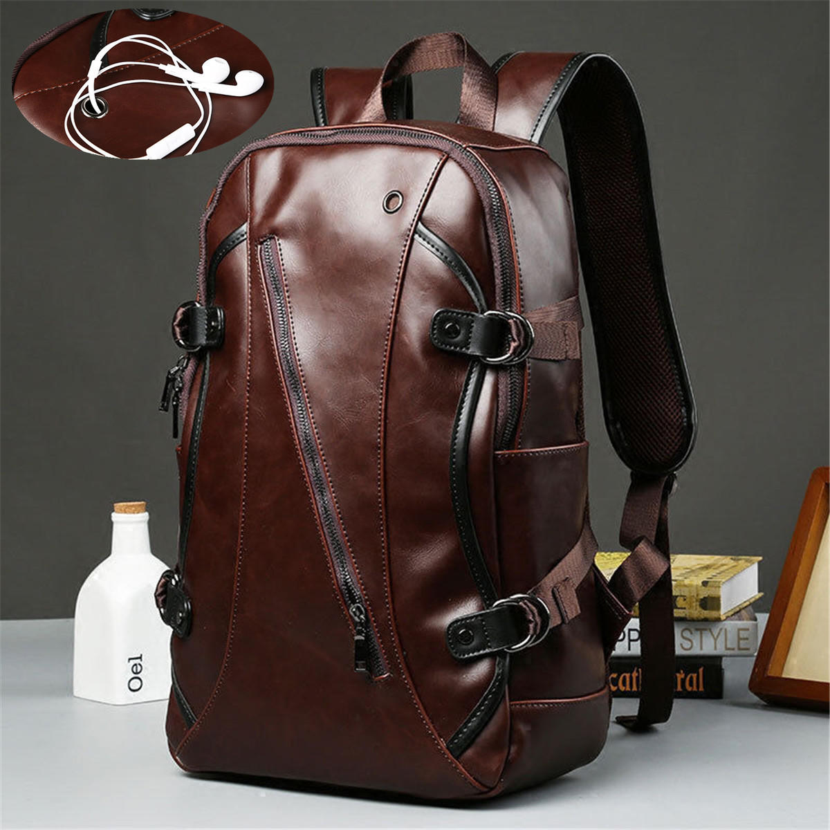 Men Leather Backpack Waterproof Laptop School Bag Travel Satchel Rucksack Large