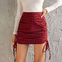 Drawstring Ruched Gingham Skirt