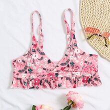 Floral Rib Ruffle Hem Bikini Top
