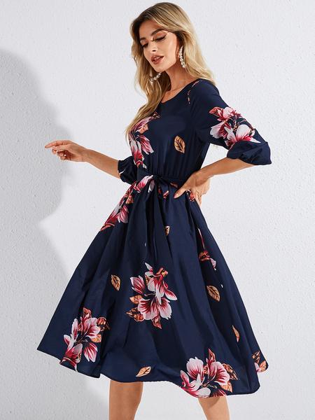YOINS Navy Belted Random Floral Print Round Neck Long Sleeves Dress
