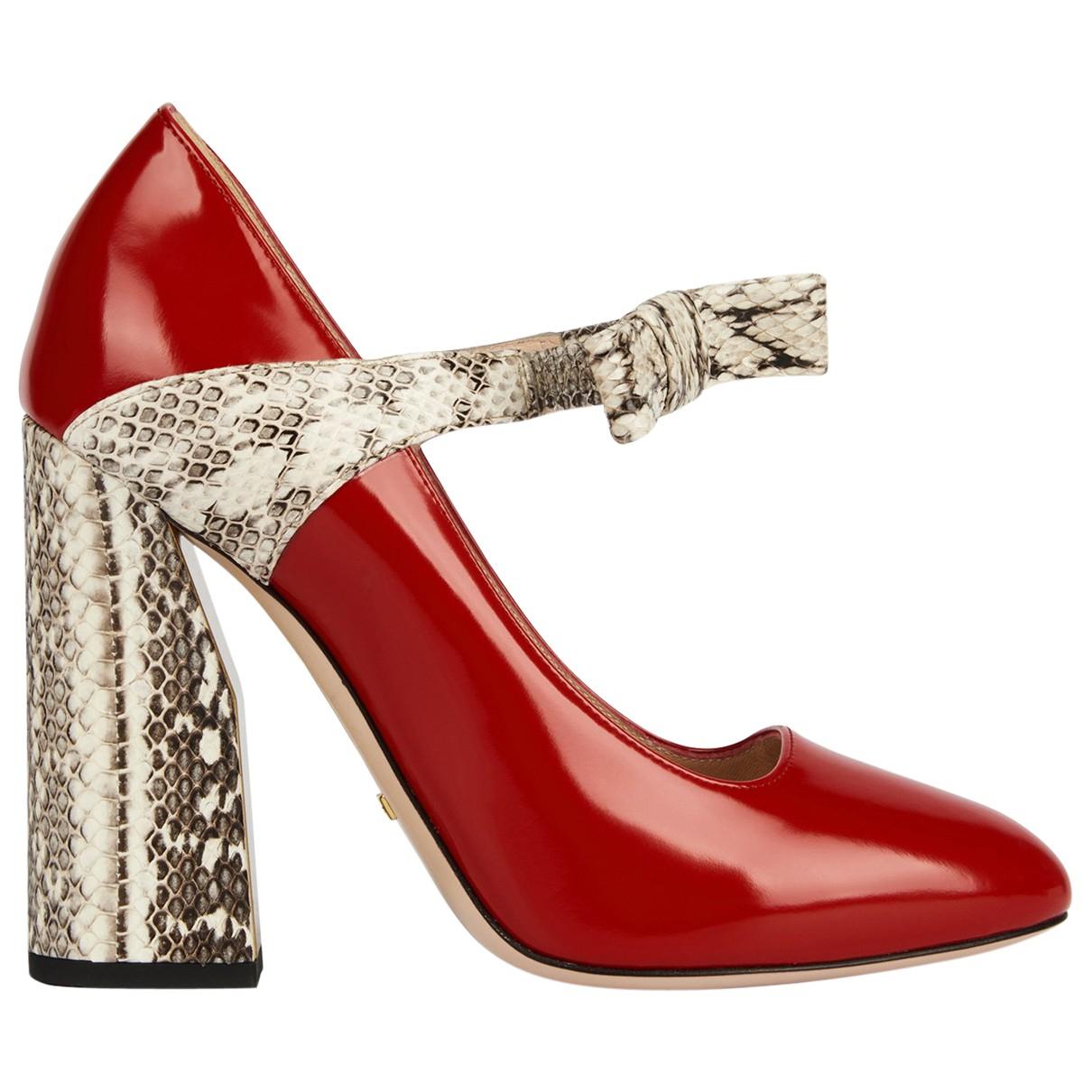 Gucci - Escarpins   pour femme en cuir verni - rouge