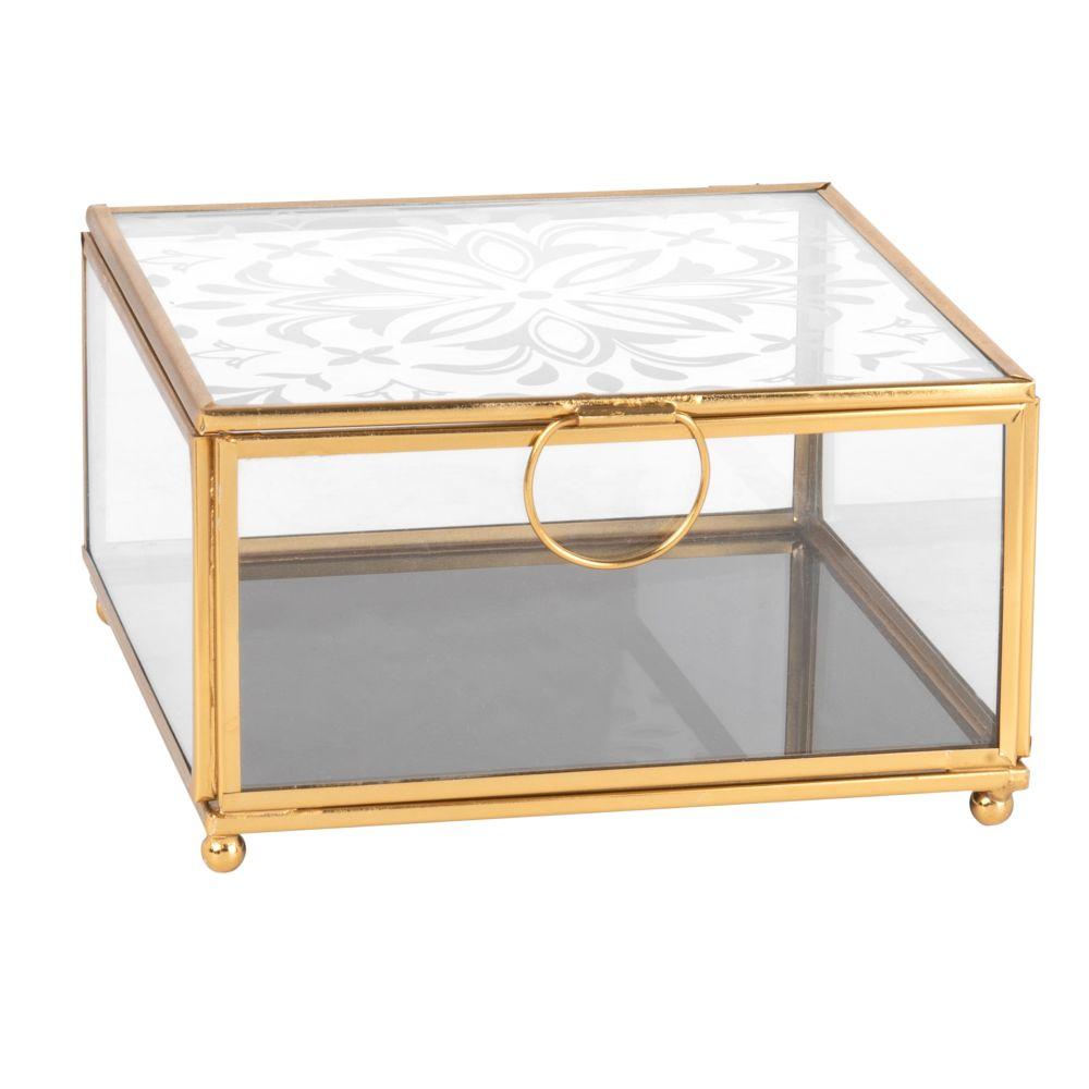 Schmuckkaestchen aus bedrucktem Glas und goldfarbenem Metall