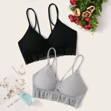 2pack Ruched Letter Lace Bralette