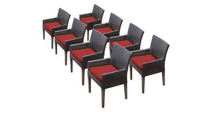 Belle Collection BELLE-TKC097b-DC-4x-C-TERRACOTTA 8 Dining Chairs With Arms - Wheat and Terracotta
