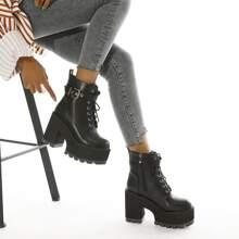 Buckle Decor Chunky Heeled Platform Lace-up Boots