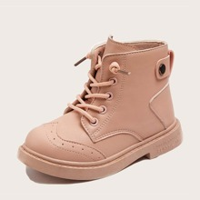Girls Wingtip Detail Lace-up Front Boots