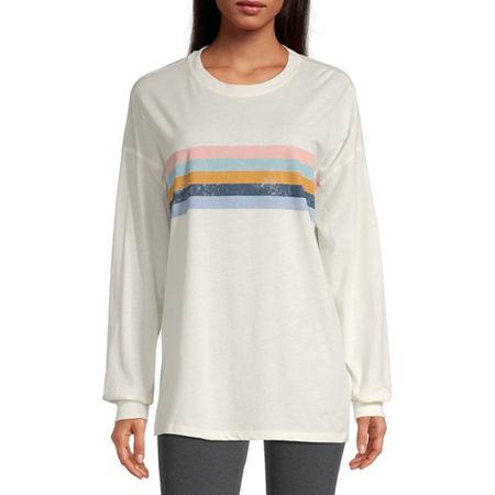 Flirtitude Juniors Womens Round Neck Long Sleeve Tie-dye T-Shirt, X-large , White