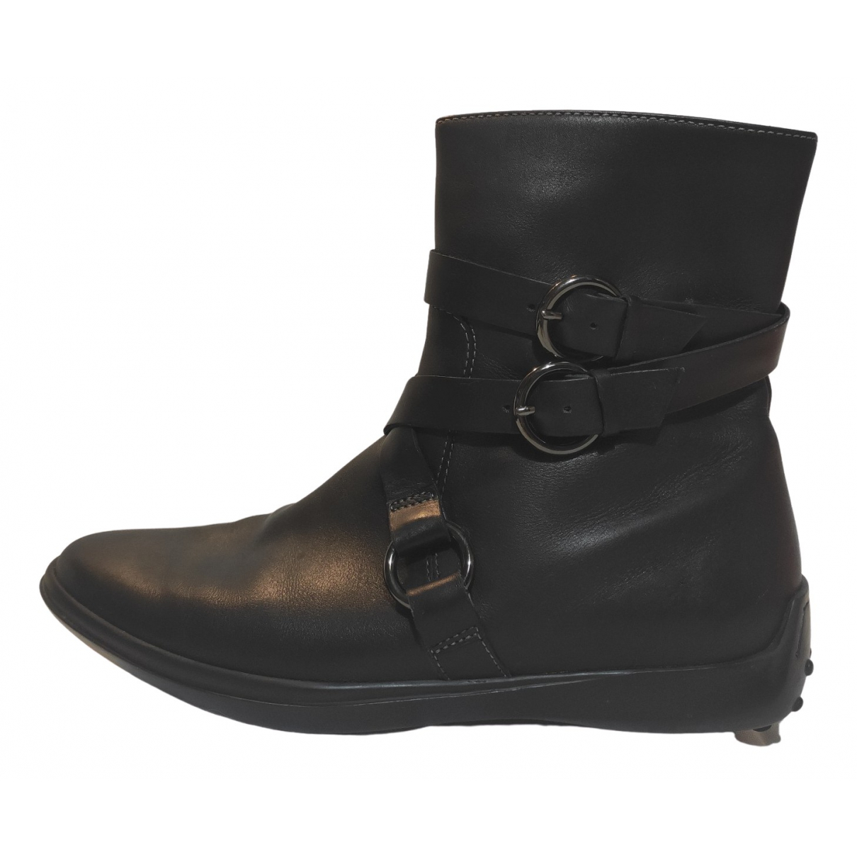 Tod's N Black Leather Ankle boots for Women 36.5 EU