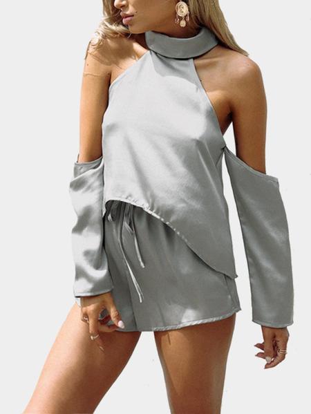 Yoins Fashion Halter Blouse & Drawtring Waist Short Co-ord