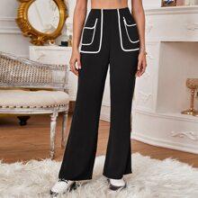High Waist Contrast Binding Pants