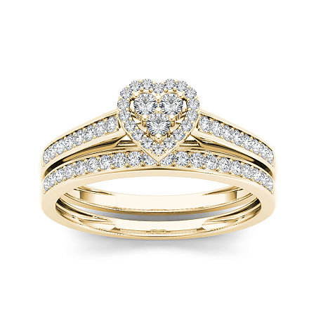 1/2 CT. T.W. Diamond 10K Yellow Gold Heart-Shaped Bridal Set, 7 1/2 , No Color Family