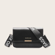 Letter Strap Flap Crossbody Bag