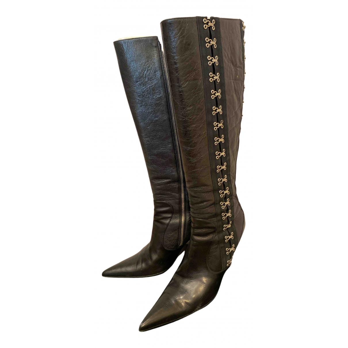 Dolce & Gabbana N Black Leather Boots for Women 38 EU