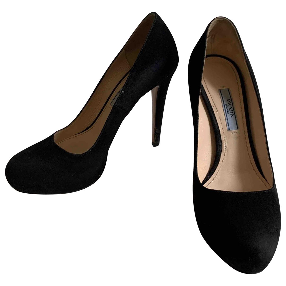 Prada \N Black Suede Heels for Women 37.5 EU