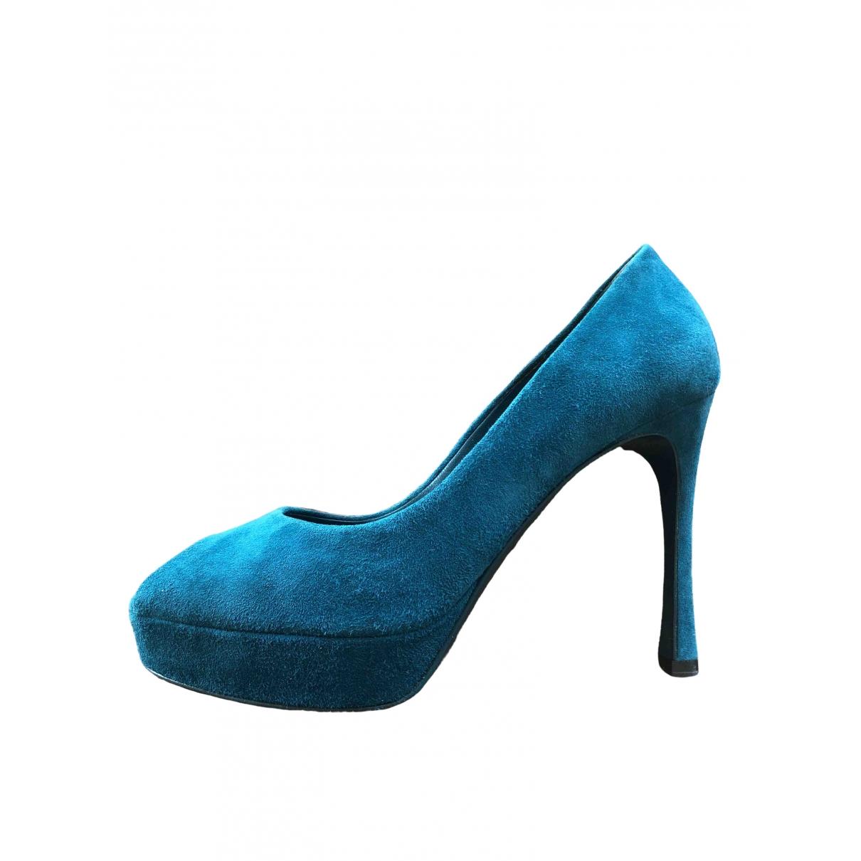 Yves Saint Laurent \N Pumps in  Blau Veloursleder