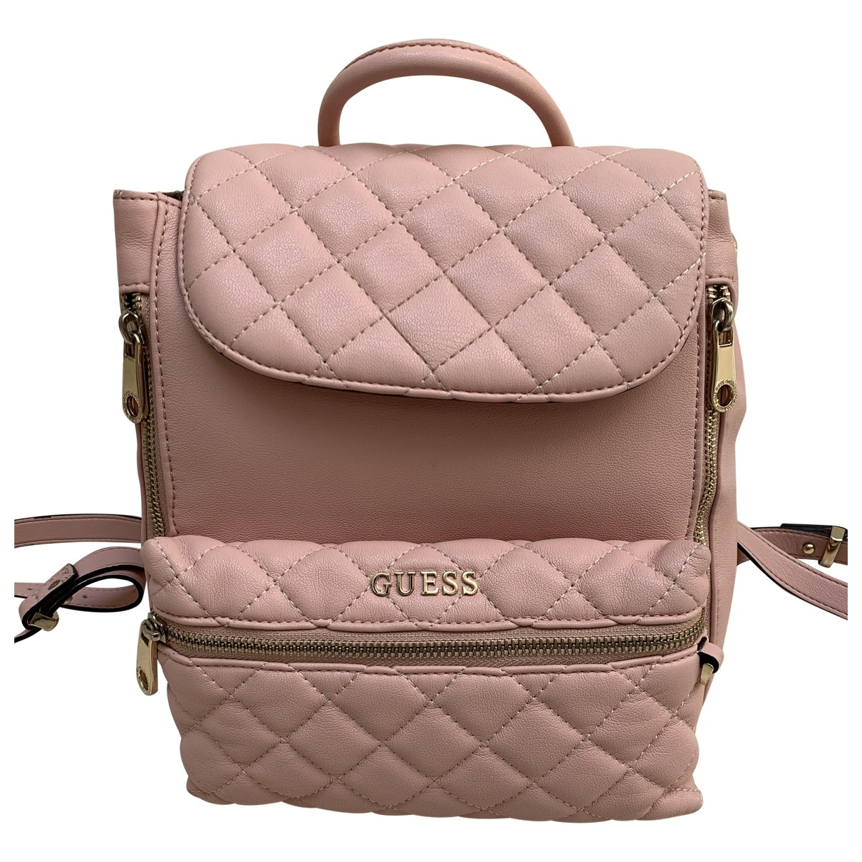 Guess \N Pink Leather backpack for Women \N