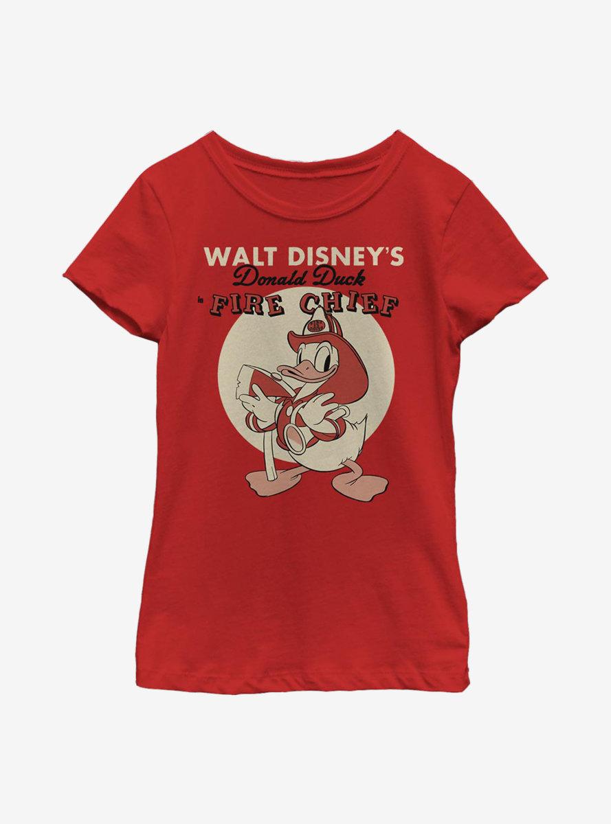 Disney Donald Duck Vintage Fireman Donald Youth Girls T-Shirt
