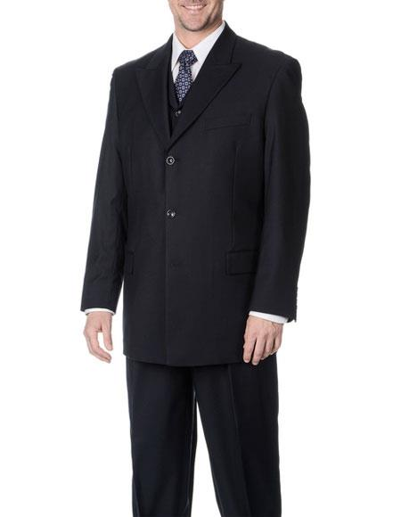 Men's Classic Fit Single Breasted Navy 3-piece Vested Peak Lapel Suit