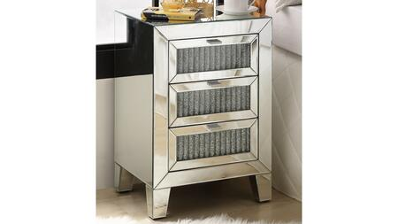 Caesia Collection 97650 Night Table  3 Drawers  Mirrored Case Frame  Mirrored Tapered Leg  in Mirrored and Faux Diamonds