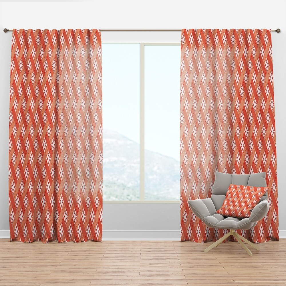 Designart Retro Checkered Pattern I Mid-Century Modern Curtain Panel (50 in. wide x 95 in. high - 1 Panel)