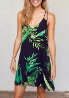 Leaf Hollow Out Spaghetti Strap Mini Dress - Navy Blue