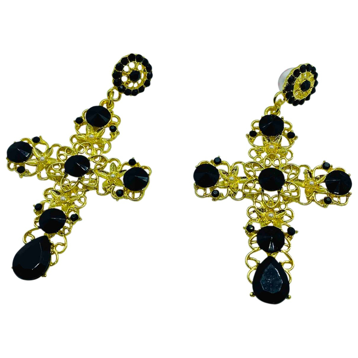 Non Signé / Unsigned Croix Black Metal Earrings for Women N