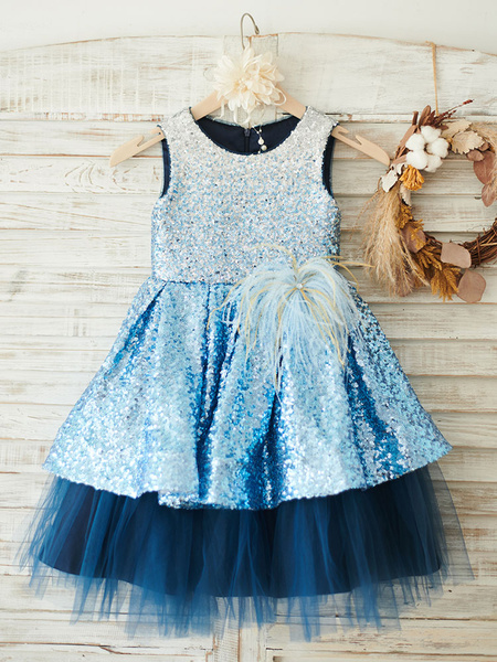 Milanoo Flower Girl Dresses Baby Blue Jewel Neck Sleeveless Feathers Kids Party Dresses
