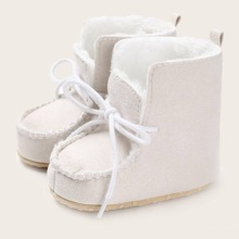 Baby Boy Bow Decor Faux Fur Lined Ankle Boots
