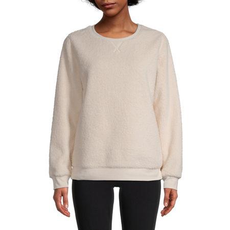 St. John's Bay Womens Round Neck Long Sleeve Sweatshirt, X-small , Beige