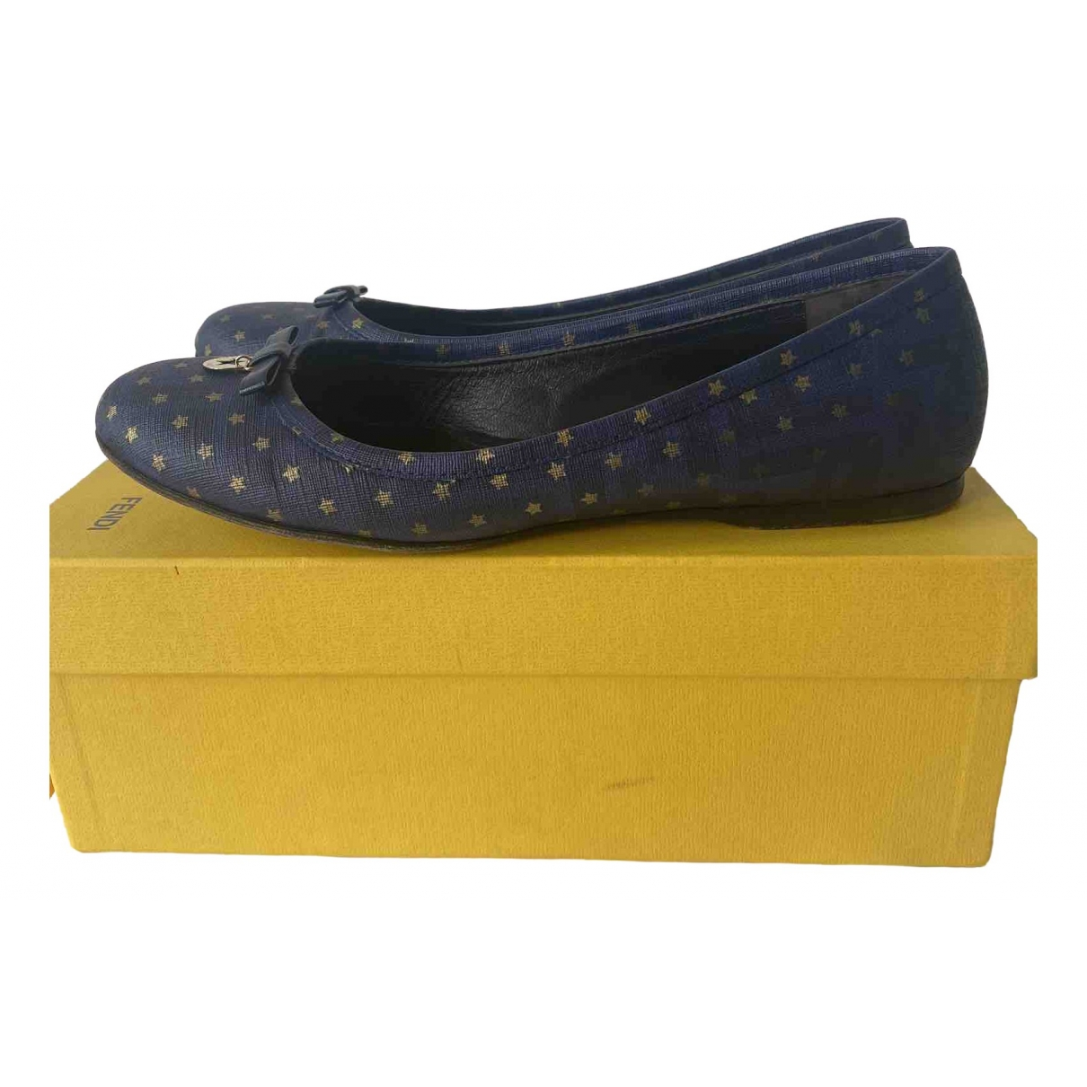Fendi \N Blue Leather Ballet flats for Women 39.5 EU