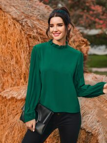 Frill Neck Pleated Sleeve Blouse