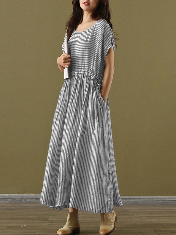 Striped Pleated O-Neck Maxi Dress With Pocket