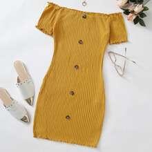 Button Front Lettuce Edge Bardot Dress