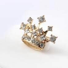 Rhinestone Decor Crown Design Brooch