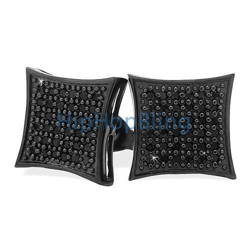 All Black Large Silver Micro Pave CZ Iced Out Earrings