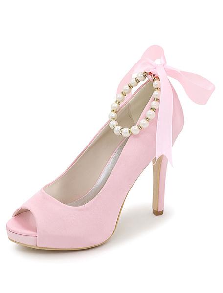 Milanoo Zapatos de novia de saten 11cm Zapatos de Fiesta Zapatos azul  de tacon de stiletto Zapatos de boda de punter Peep Toe con perlas 1.5cm