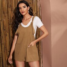 Button Front Pocket Patched Pinafore Romper With Knotted Strap